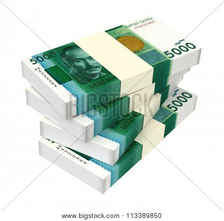 Kyrgyzstani som bills isolated on white background. Computer generated 3D photo rendering