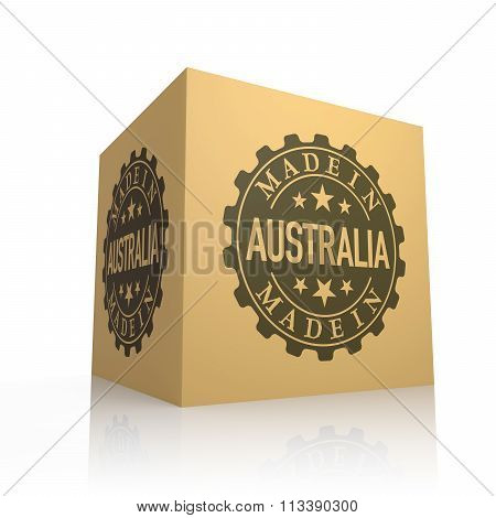 3D Render Of Cardboard Box With Made In Australia