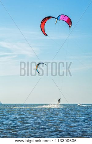 Kite-surfing On The Background Of Sea And Sky