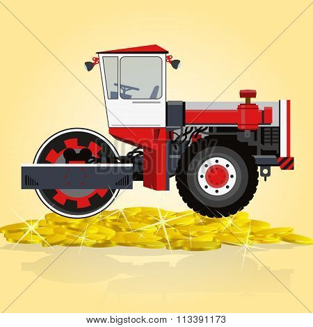 Red and white big roller builds roads. Rolling og golden coins.