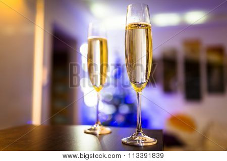 Two flutes of champagne for home celebrations