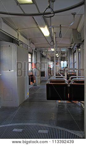 passenger compartment of city tram in Milan