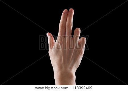 Gesture, Young Woman's Hand Indicates The Direction Or Touch Devices