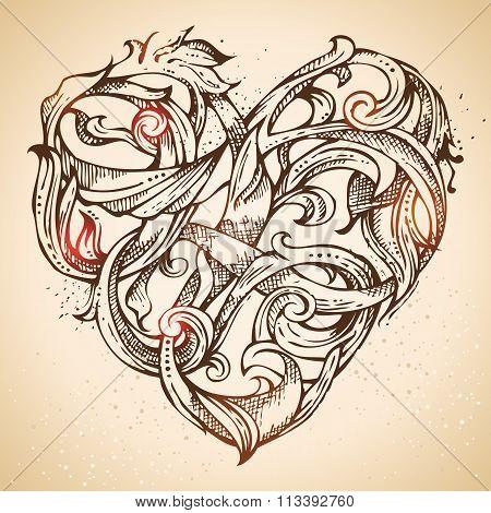 Hand-drawn Vintage Heart Sketch.