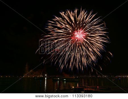 Big colorful fireworks explode in Venice in dark sky,New Year fireworks in Venice, 4 July, Independe