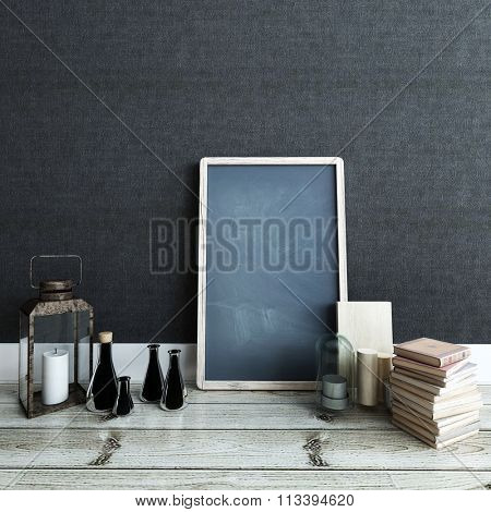 Modern Home Decor Detail with Copy Space - Black Chalkboard on Wood Floor with Variety of Old and New Knick Knacks and Decorative Items in Modern Room with Dark Gray Wall