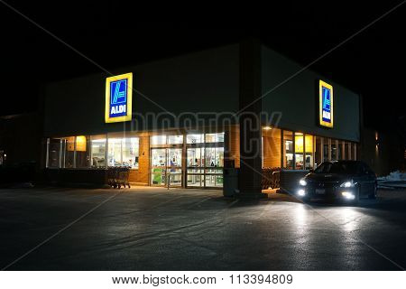 Aldi Grocery Store at Night