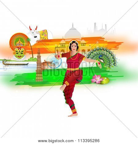 Beautiful young girl in classical dancing pose with view of various Indian Cultures for Happy Republic Day celebration.