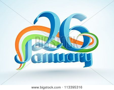3D glossy text 26 January with National Flag colours waves for Happy Indian Republic Day celebration.