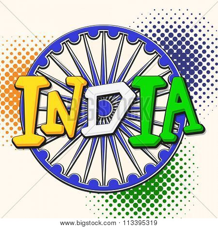 Stylish text India in National Tricolours with creative Ashoka Wheel on abstract background for Happy Republic Day celebration.