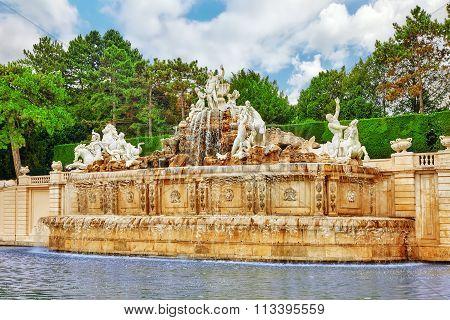Upper Belvedere.beautiful Fountains In Complex Belvedere.vienna. Austria.