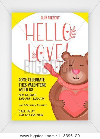 Creative Flyer, Banner or Pamphlet design with cute bear for Valentine's Day Party celebration.