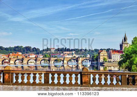 Charles Bridge From The Quay Of The Vltava River.czech Republic.