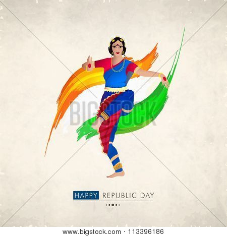 Creative illustration of beautiful Classical Dancer in traditional outfit on saffron and green paint stroke background for Happy Indian Republic Day celebration.