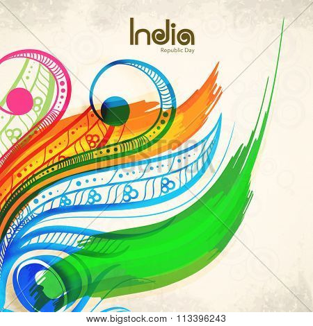 Elegant greeting card decorated with colourful floral design for Happy Indian Republic Day celebration.
