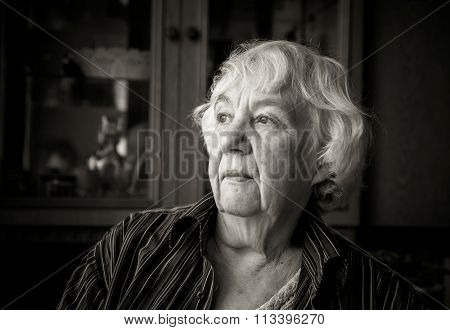 The gray-haired elderly woman in the interior of her house