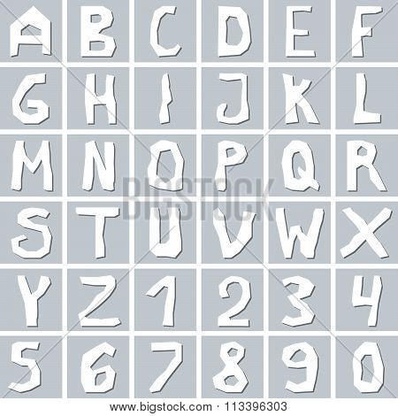 Set of hand drawn white uppercase  alphabet letters with numbers on gray square background