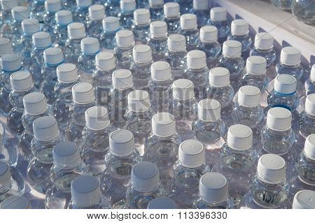 Batch Of Plastic Bottles Of Water.