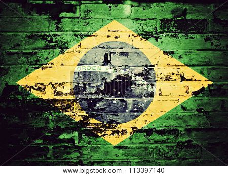 flag of Brazil painted on brick wall