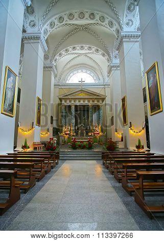 VILNIUS LITHUANIA - JANUARY 2 2012: Altar in Vilnius Cathedral in Vilnius in Lithuania at Christmas