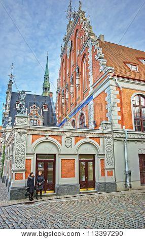 RIGA LATVIA - DECEMBER 25 2011: House of Blackheads in the Old city in Riga in Latvia