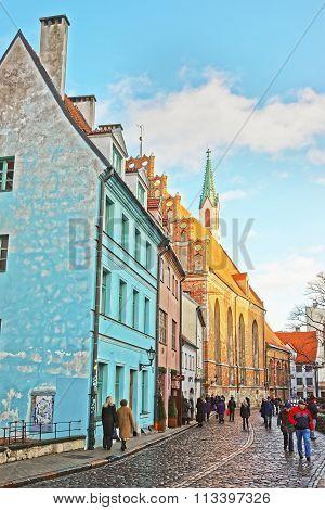 RIGA LATVIA - DECEMBER 25 2011: Konventa seta at St Peter church square in the Old city of Riga in Latvia