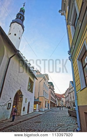 Street view to Holy Spirit Church in the Old city of Tallinn in Estonia in winter