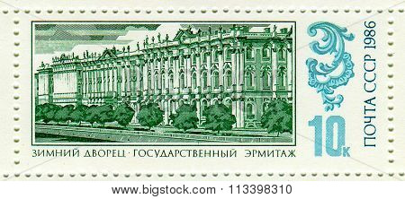 USSR - CIRCA 1986: A stamp printed in USSR shows image of the State Hermitage is a museum of art and culture in Saint Petersburg, Russia, circa 1986.