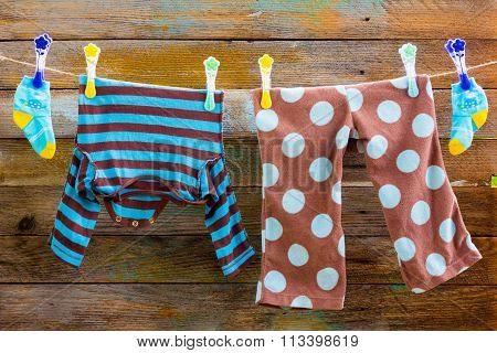 Children's clothes on a rope