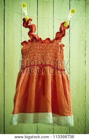 baby dress on a rope