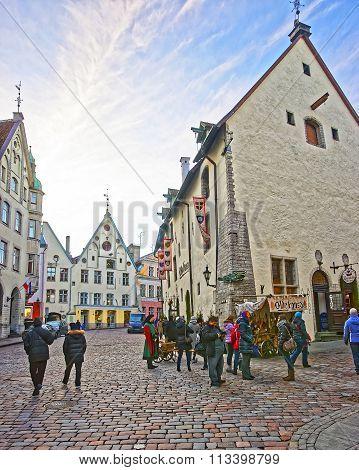 TALLINN ESTONIA - DECEMBER 28 2011: Street view near Olde Hansa restaurant in the Old city of Tallinn in Estonia