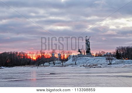 Victory Monument And Trinity Church At Sunset In Veliky Novgorod, Russia