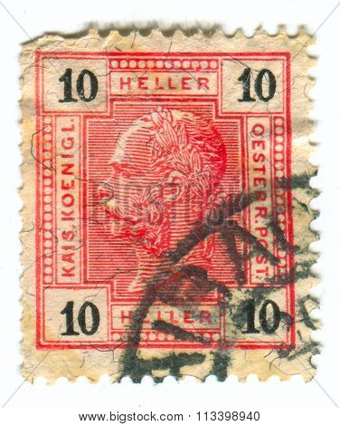 HUNGARY - CIRCA 1916: A stamp printed in Hungary shows image of the Franz Joseph I or Francis Joseph I was Emperor of Austria, King of Hungary, Croatia and Bohemia, circa 1916.