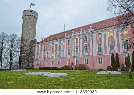 Toompea castle and the Parliament building in Tallinn in Estonia in winter