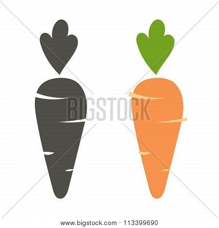 Carrot vector icon cartoon style isolated on white background