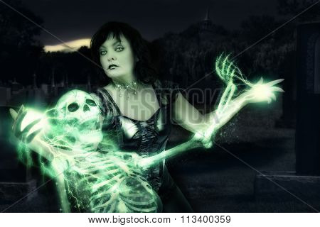 Sorceress Casting Spells On Skeleton.