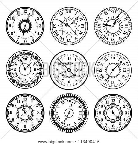 Clock watch alarms black vector icons illustration