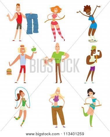 Beauty fitness people weight loss vector cartoon illustration