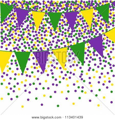 Mardi Gras bunting background with confetti.