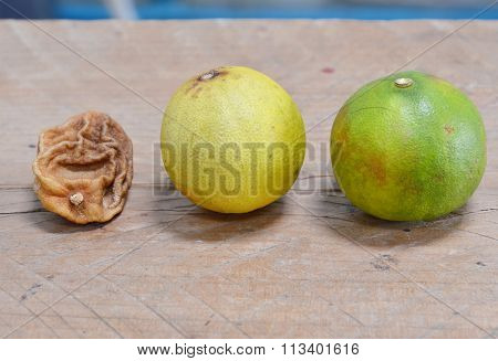 fresh and wither lemon on wooden board