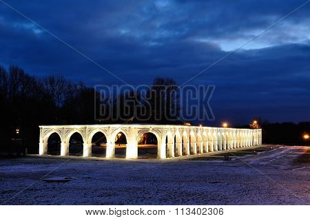 Yaroslavs Courtyard In Veliky Novgorod, Russia - Winter Night Landscape