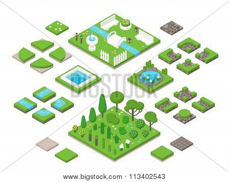 Landscaping isometric 3d garden design elements