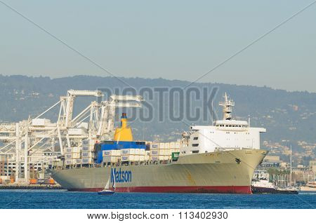Alameda, CA - March 9, 2015: Oakland Container Shipyard, San Francisco Bay the Matson container ship