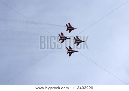 Barnaul, Russia - August 16, 2015: Aerobatic Team Russian Knights At Worldwide Airshow In Barnaul, R