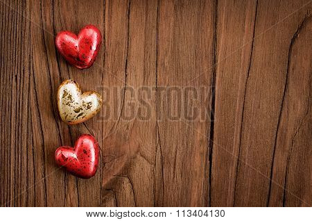 Wooden Valentine's Background