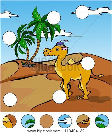 Cartoon Camel In The Desert. Complete The Puzzle And Find The Missing Parts Of The Picture. Vector I