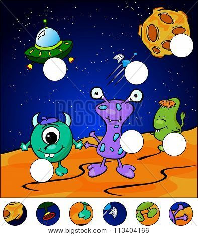 Aliens On The Surface Of Moon. Complete The Puzzle And Find The Missing Parts Of The Picture. Vector