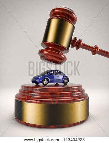January 5, 2016: 3D illustration of a Volkswagen Beetle about to be crushed by a judge's gavel due to the usage of a defeat device to manipulate pollution emissions.