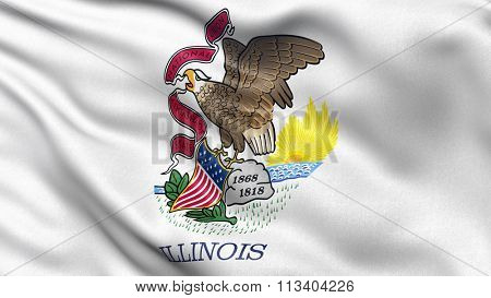 US state flag of Illinois with great detail waving in the wind.