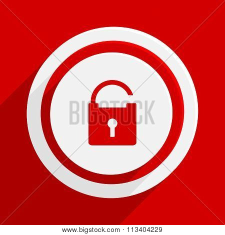 padlock red flat design modern vector icon for web and mobile app